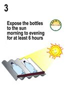 SODIS method for purifying  drinking water-- using clear bottles and the power of UV radiation from the sun.