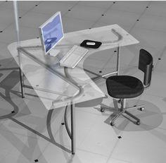 Móveis para escritórios _ mesa em metal e vidro temperado