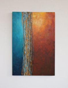 « Carrefour » est une peinture acrylique sur une toile de grande, épaise. Il dispose d'une palette de couleurs riche et rêveuse de bruns chaleureux et ambre orange, couplé avec aqua et turquoise profond. Ce tableau s'allume avec la couleur et a une texture grand couteau à palette. Elle a un 6 pouces large « carrefour » avec des lignes épaisses de peinture marron, indien jaune et bleu clair. Il peut s'accrocher horizontalement ou verticalement. Accrocher le fil est attaché et est orientée à…
