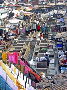 Dhobighat, Bombay. Place where millions clothes are washed.
