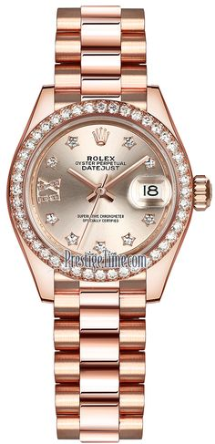 Rolex Lady Datejust 28mm Everose Gold 279135RBR Sundust Diamond President