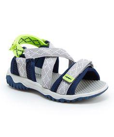 Gray & Navy Cross-Strap Sandal
