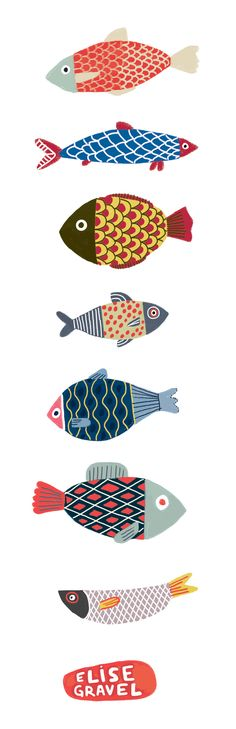 Elise Gravel illustration • fish • fun • art • cute • pattern • drawing