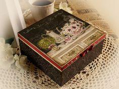 Jewelry   tea box  Salon de fine style  by HandmadeDecoupage, $70.00