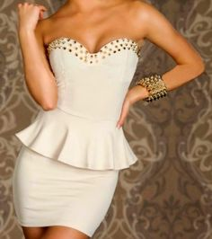 This Strapless Peplum Nail Studded Cocktail Dress is perfect for Danielle! #MillionDollarShoppersDanielle @Doris Vee Vee Vee Mcclanahan-Conway TV