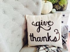 Give Thanks Scripted Thanksgiving 16x16 by TheLaurenCollection, $20.00