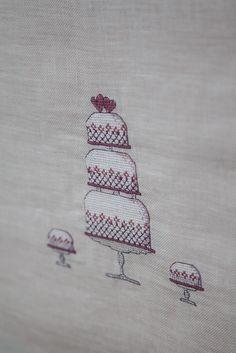Hochzeit Tischläufer Hochzeitstorte self-made Stickerei Wedding cake Vintage