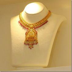 Unique choker necklace with heavy Lakshmi design pendant