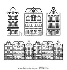 Dutch houses, Amsterdam buildings, Holland or Netherlands archictecture icons Colouring Pages, Coloring Books, Amsterdam Skyline, Amsterdam Houses, Building Icon, Dutch House, 3d Modelle, Holland Netherlands, Simple Doodles