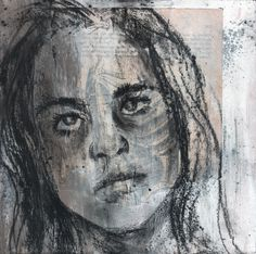 Mixed media drawing on found paper