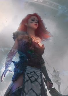 I'm saying Druid.  That looks like a scimitar.  Red hair | Celtic theme.  Wields magic.