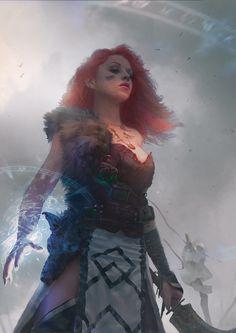 I'm saying Druid.  That looks like a scimitar.  Red hair | Celtic theme.  Wields magic.