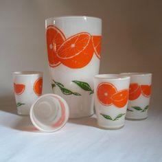 Retro Vintage Orange Slice Juice Glass Set