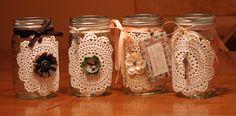My version of the doily mason jar craft (: