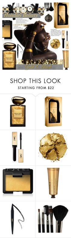 """""""Holiday Makeup"""" by crochetragrug ❤ liked on Polyvore featuring beauty, Giorgio Armani, Paco Rabanne, Yves Saint Laurent, Pat McGrath, NARS Cosmetics, Haeckels and Glamour Status"""