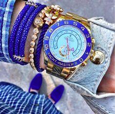 Set phụ kiện tông màu xanh đến từ những thương hiệu đình đám: stingHD, Shamballa Jewels, Fred và Rolex.