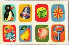 ABZIEHBILDER-Motive-Pinguin-Wuerfel-Puppe-Schwein-Schluessel-Glocke-DDR-1986