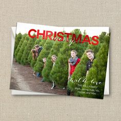 Christmas Photo Card  Merry Overlay Ombre digital by mailboxbliss