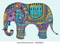 Stylized vector patterned elephant in violet, yellow, turquoise and coral tones - stock photo