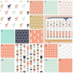 Little Fawn (Custom Crib Set) Baby Bedding, Crib Bedding, Mint, Coral, Gold, Navy Deer, Fawn, Arrows Baby Nursery