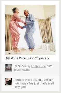 The most darling thing I've ever seen. I wish @Patricia Price and @Tripp Price many, many wonderful years together!