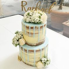 Naked cake with blue drip & beautiful blooms For more cake inspiration check out my curation of Celebratory Cakes for Wedding, Birthday and Occasions Christening Cake Boy, Christening Cakes, Boy Baptism, Nake Cake, Communion Cakes, Communion Cake For Boys, Drip Cakes, Occasion Cakes, Birthday Cakes
