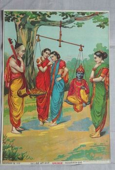 India ORIG Lithograph KRISHNA WEIGHED ON SCALE 38607 picclick.com