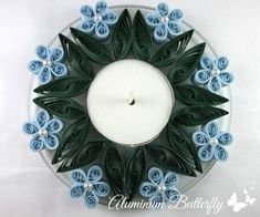 Quilled Blue Flower Candle Holder