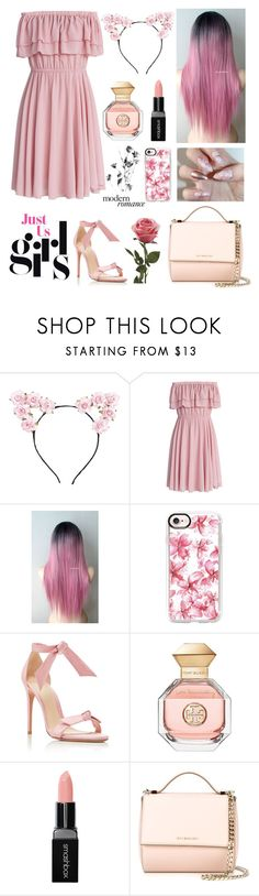"""""""girly pink"""" by withingalaxy ❤ liked on Polyvore featuring Lulu in the Sky, Chicwish, Casetify, Alexandre Birman, Tory Burch, Smashbox and Givenchy"""