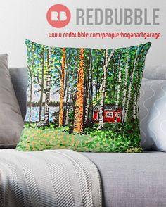 'The Escape Hut' Throw Pillow by Alan Hogan Canvas Prints, Art Prints, Art Market, Pillow Design, Finland, Duvet Covers, Throw Pillows, Gift Ideas, York
