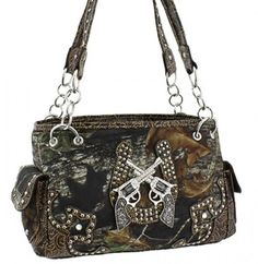 Coffee Women Purse Handbag Camo Camouflage Mossy Oak Guns Horse Shoe Mossy Oak