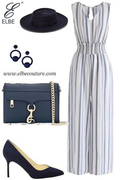 Simple Outfits, Chic Outfits, Fashion Outfits, Fashion Tips, Sunday Brunch Outfit, Jumpsuit Outfit, Blue Jumpsuits, Professional Dresses, Latest Outfits