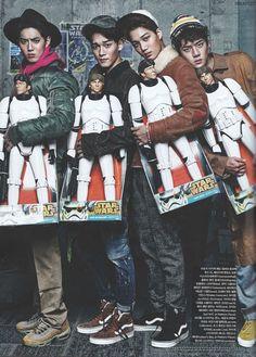 Vogue Korea, December 2015 Issue : EXO x STAR WARS Collaboration - Suho, Chen, Kai, and Sehun