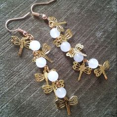 Look how they catch the light! moonstone, dragonflies