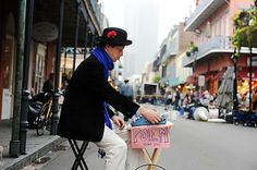 Ben Aleshire, a poet for hire, writes poems on his typewriter for passersby on Royal Street. Tourist Sites, New Orleans, Baby Strollers, Poems, Scene, Children, Typewriter, Street, Places