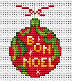 """Red Christmas decoration cross stitch pattern with the text: """"Bon Noel"""". Could be translated from French to """"Good Christmas"""" or """"Merry Christmas""""."""