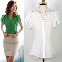 Find More Blouses & Shirts Information about Summer Women Blouse White Green Colour Diamonded Shitr Casual Chiffon Blouse 2014 Hot Sale Short Sleeve Plus Size Cool Blouse,High Quality Blouses & Shirts from Tina Fashion Woman Clothing Store on Aliexpress.com