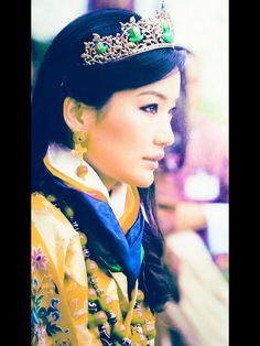 Ashi Jetsun Pema Wangchuck, , Queen of the Kingdom of Bhutan, wearing a jade tiara.