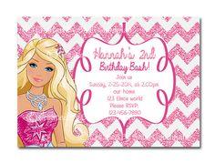 Birthday Invitation Etsy listing at https://www.etsy.com/listing/177503486/barbie-birthday-invitations-printable