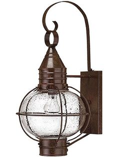 Porch Light Fixture. Cape Cod Large Entry Sconce With Clear Seedy Glass