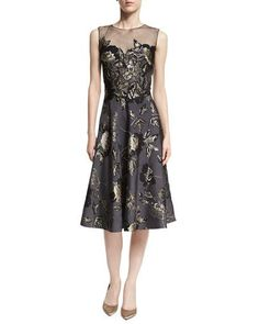 Metallic Jacquard Sleeveless Fit-and-Flare Cocktail Dress