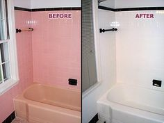 painting bathroom tiles | Picture: Pink Tub & Tile - BEFORE & AFTER provided by Renew Kitchen ...