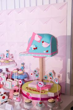 Hip Postal Mail Themed Party Ideas - Cake Party Themes, Party Ideas, Editorial, Photoshoot, Dolls, Cake, Design, Fiestas, Baby Dolls