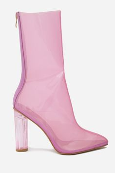 Heel Height: 4 Inches Colour: Pink Features a transparent patent upper…