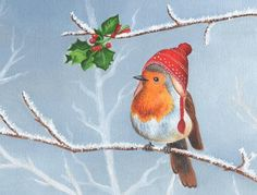 Items similar to Waiting For A Kiss print from an original Christmas illustration by Irene Owens on Etsy Illustration Noel, Winter Illustration, Christmas Illustration, Watercolor Illustration, Watercolor Art, Watercolor Christmas Cards, Christmas Drawing, Christmas Paintings, Christmas Bird