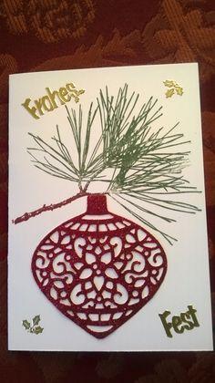 """Mit Liebe gemacht von Petra Heinrich. Weihnachten/Christmas. Thinlits-Form """"Am Christbaum"""", Stempel """"Klassische Weihnacht"""" und Papier Flüsterweiß von Stampin up."""