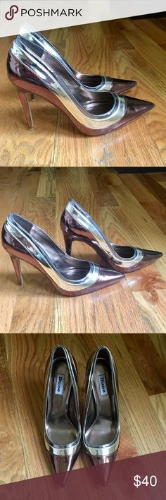 """NWOT!!  Dune London """"BRONZA""""  Triple Metallic Pump A slip on style showcasing a classic silhouette with a triple layer design. The pointed toe and slim high heel completes this day to night style. Comes in a metallic high shine finish.                                                                                         Heel Height: 10.5cm Toe Shape: Pointed,                            Heel Shape: Stiletto Heel.  Size 40                              NEW! HAVE NEVER BEEN WORN!   *Refer to…"""