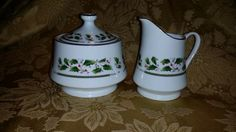 """VINTAGE """"Holly Holiday""""  Home For the Holiday  Sugar Bowl and Creamer Set in Original Box Royal LTD BEAUTIFUL!!!!! by NookHook on Etsy"""