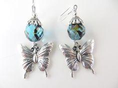 Teal beaded  butterfly earrings