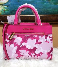 2b30186d59ef Michael Kors Hailee XS Satchel Small Crossbody Pink Floral Handbag Kellen